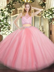 Baby Pink Zipper Scoop Beading Quinceanera Gowns Tulle Sleeveless