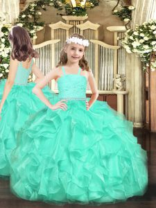 Sleeveless Beading and Lace and Ruffles Zipper Kids Formal Wear