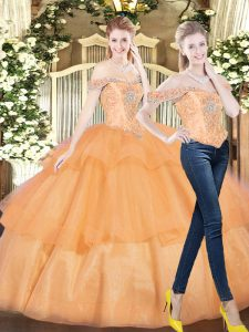 Unique Orange Red Lace Up Off The Shoulder Beading and Ruffled Layers 15th Birthday Dress Organza Sleeveless