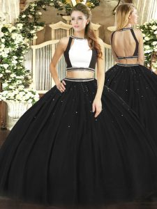 Dazzling Sleeveless Tulle Floor Length Backless Vestidos de Quinceanera in Black with Ruching