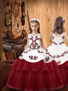 Burgundy Ball Gowns Embroidery Pageant Dress for Teens Lace Up Tulle Sleeveless Floor Length