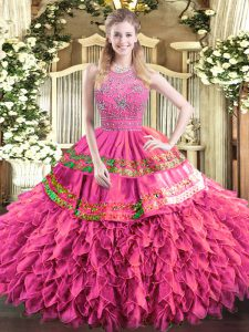 Affordable Sleeveless Beading and Ruffles and Sequins Zipper Quinceanera Gown