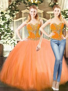 Orange Red Two Pieces Sweetheart Sleeveless Tulle Floor Length Lace Up Beading Quinceanera Gowns