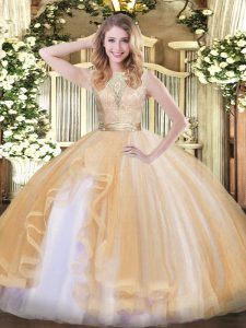 Champagne Sleeveless Organza Backless Quinceanera Dress for Military Ball and Sweet 16 and Quinceanera