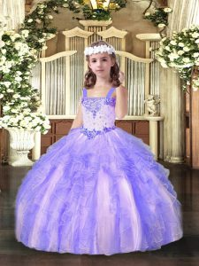 Floor Length Lavender Glitz Pageant Dress Straps Sleeveless Lace Up