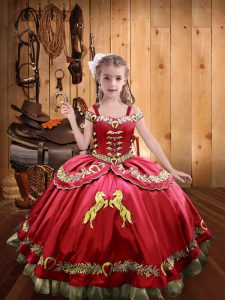 Hot Sale Coral Red Ball Gowns Organza and Taffeta Off The Shoulder Sleeveless Embroidery Floor Length Lace Up Little Girls Pageant Dress