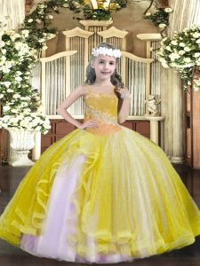 Light Yellow Tulle Lace Up Little Girl Pageant Dress Sleeveless Floor Length Beading