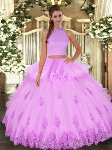 Inexpensive Halter Top Sleeveless Tulle Quinceanera Dresses Beading and Appliques and Ruffles Backless
