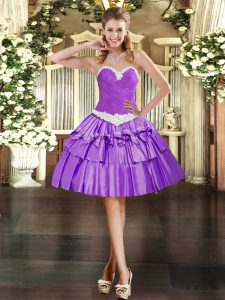 Dazzling Organza Sweetheart Sleeveless Lace Up Appliques and Ruffled Layers Prom Evening Gown in Eggplant Purple