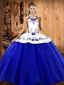 Embroidery Sweet 16 Quinceanera Dress Blue And White Lace Up Sleeveless Floor Length