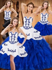 Ideal Blue And White Ball Gowns Strapless Sleeveless Satin and Organza Floor Length Lace Up Embroidery and Ruffles Quinceanera Gowns
