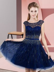Sexy Royal Blue Empire Beading Dress for Prom Backless Tulle Sleeveless Knee Length