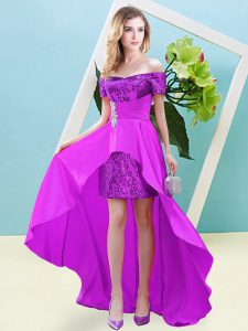 Empire Dress for Prom Fuchsia Off The Shoulder Elastic Woven Satin and Sequined Short Sleeves High Low Lace Up