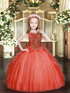Sleeveless Floor Length Beading and Ruffles Zipper Little Girls Pageant Gowns with Red