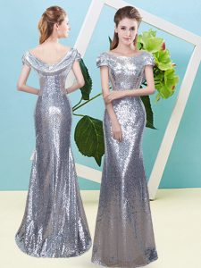 Fabulous Silver Scoop Zipper Sequins Prom Dress Cap Sleeves