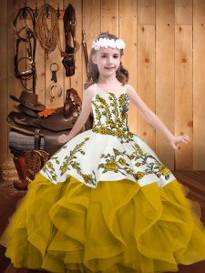 Gold Sleeveless Embroidery and Ruffles Floor Length Little Girls Pageant Dress