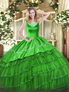 Designer Floor Length Green Quinceanera Dresses Scoop Sleeveless Side Zipper