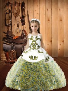Custom Designed Multi-color Fabric With Rolling Flowers Lace Up Pageant Dress for Womens Sleeveless Floor Length Embroidery