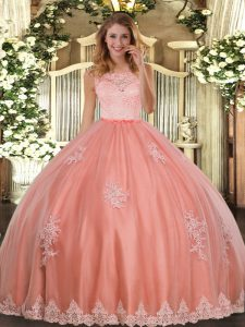 Stunning Scoop Sleeveless Tulle Vestidos de Quinceanera Lace and Appliques Clasp Handle