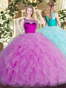 Lilac Organza Zipper Quinceanera Gown Sleeveless Floor Length Beading and Ruffles