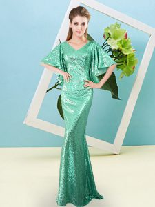 Fashion Sequined V-neck Half Sleeves Zipper Sequins Evening Dress in Turquoise