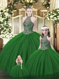 Dark Green Tulle Lace Up Halter Top Sleeveless Floor Length Sweet 16 Dress Beading