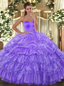 Custom Design Floor Length Lace Up Quinceanera Dress Lavender for Military Ball and Sweet 16 and Quinceanera with Beading and Ruffled Layers
