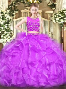 Lilac Sleeveless Tulle Zipper Quinceanera Dress for Military Ball and Sweet 16 and Quinceanera