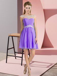 Lavender Chiffon Lace Up Scoop Cap Sleeves Mini Length Homecoming Dress Beading