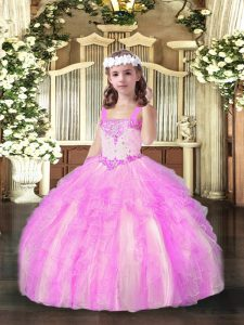 Straps Sleeveless Lace Up Little Girls Pageant Gowns Lilac Organza