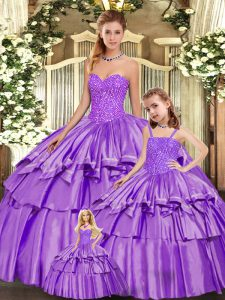 Floor Length Ball Gowns Sleeveless Eggplant Purple Ball Gown Prom Dress Lace Up