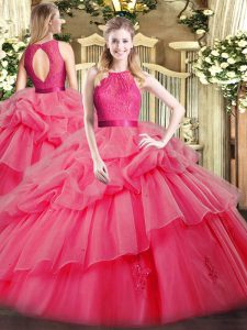 Beauteous Scoop Sleeveless Sweet 16 Dresses Floor Length Lace and Ruffled Layers Coral Red Organza