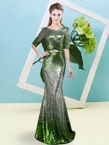 Half Sleeves Sequined Floor Length Zipper Evening Dress in Multi-color with Sequins and Belt