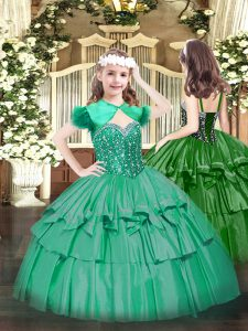 Turquoise Ball Gowns Straps Sleeveless Organza Floor Length Lace Up Beading and Ruffled Layers Girls Pageant Dresses