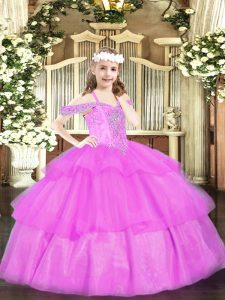 Sleeveless Floor Length Beading and Ruffled Layers Lace Up Pageant Dress Womens with Lilac