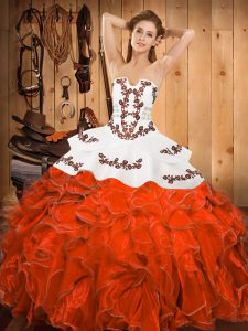 Glamorous Embroidery and Ruffles Sweet 16 Dress Rust Red Lace Up Sleeveless Floor Length