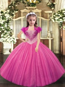Hot Pink Tulle Lace Up Kids Formal Wear Sleeveless Beading
