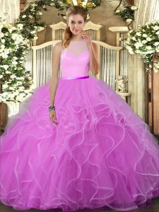 Inexpensive Lilac Tulle Backless Sweet 16 Quinceanera Dress Sleeveless Floor Length Ruffles