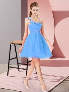 New Style Asymmetric Sleeveless Organza Dress for Prom Beading and Hand Made Flower Zipper