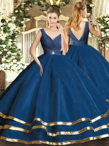 Deluxe Navy Blue Tulle Backless 15th Birthday Dress Sleeveless Floor Length Beading and Ruffled Layers