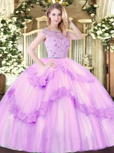 Stylish Bateau Sleeveless Quince Ball Gowns Floor Length Beading and Appliques Lilac Tulle