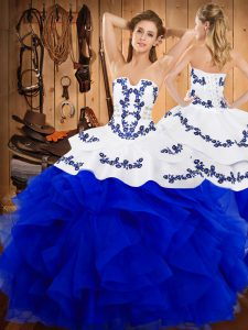 Floor Length Lace Up 15 Quinceanera Dress Blue And White for Military Ball and Sweet 16 and Quinceanera with Embroidery and Ruffles