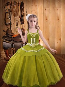 Luxurious Olive Green Ball Gowns Organza Straps Sleeveless Embroidery and Ruffles Floor Length Lace Up Little Girls Pageant Dress Wholesale
