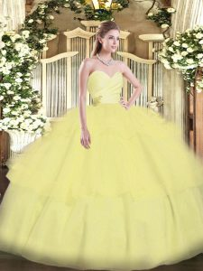 Stylish Light Yellow Ball Gowns Sweetheart Sleeveless Organza Floor Length Lace Up Beading and Ruffled Layers Quinceanera Dresses