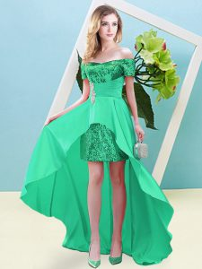 Glamorous Turquoise Empire Off The Shoulder Short Sleeves Elastic Woven Satin and Sequined High Low Lace Up Beading Dress for Prom