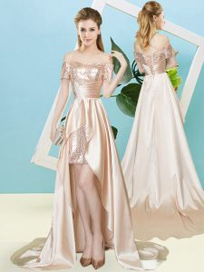 Charming Champagne Elastic Woven Satin and Sequined Lace Up Off The Shoulder Short Sleeves High Low Prom Dresses Sequins