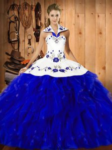 Extravagant Blue And White Halter Top Neckline Embroidery and Ruffles Sweet 16 Dress Sleeveless Lace Up
