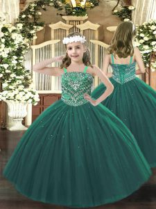 Dark Green Lace Up Winning Pageant Gowns Beading Sleeveless Floor Length