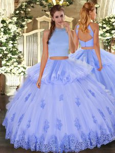 Flirting Sleeveless Tulle Floor Length Backless Vestidos de Quinceanera in Light Blue with Beading and Appliques and Ruffles
