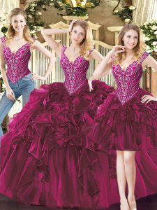 Sophisticated Fuchsia Three Pieces Beading and Ruffles Sweet 16 Quinceanera Dress Lace Up Organza Sleeveless Floor Length